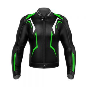 Black and Green Racing Leather Jacket